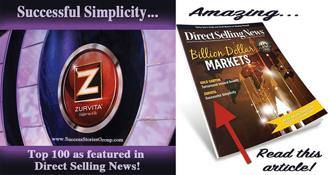 Success from Home Magazine and Direct Selling News featuring Zurvita!